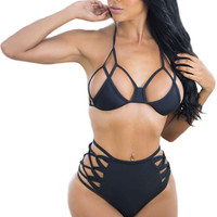 New Sexy Cut It out High Waist Two Pieces Bikini Hollow Out Halter Strappy Bikinis Set Top Bottom High Waisted Swimsuit
