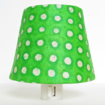 Ready to Ship - Green and White Polka Dot Night Light - Lime Green Nursery Decor - Kids Night Light,  Christmas Night Light