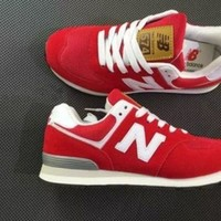 "Kalete ""New Balance"" Fashion Leisure All-Match N Words Breathable Lovers Sneakers Shoes Red I"