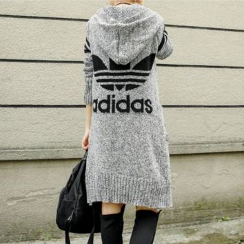 Autumn and winter jacquard printing long sweater knit cardigan loose large size long sleeves coat