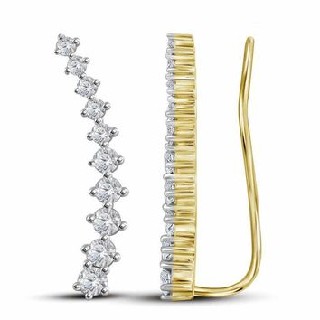 14kt Yellow Gold Women's Round Diamond Climber Earrings 3-4 Cttw - FREE Shipping (USA/CAN)