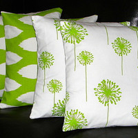 """Decorative Pillows LIME green & white 20x20 Throw Pillow Covers FOUR 20 inch Pillow Covers IKAT - dandelion 20"""" chartreuse"""