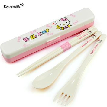 Keythemelife Dinnerware Tableware Lunch Set cute Kawaii Hello kitty Porcelain Baby girl boy ABS health high quality DA