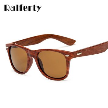 Ralferty UV 400 Color Lens with Walnut  Wood Frame Sunglasses