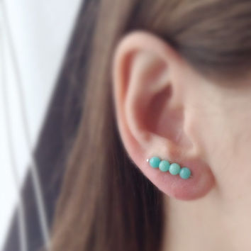 Turquoise Jade Ear Pin Earrings, Sterling Silver Long Stud Earrings, Jade Ear Pin Earring,Turquoise Stud Earring, Turquoise gemstone Earring