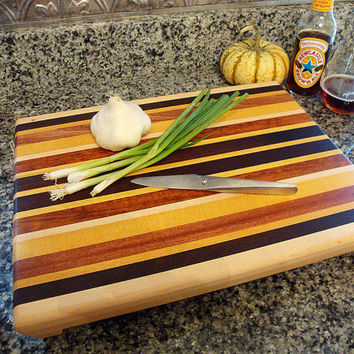 Handmade Large Wood Cutting Board - Cook Craft and be Merry -  Yellowheart & Black Walnut