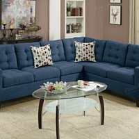4 pc Collette collection navy polyfiber faux linen fabric upholstered modular sectional sofa