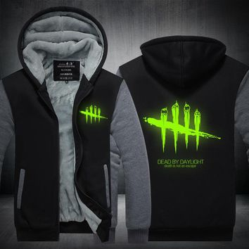 Mens Sweatshirt Game Dead by Daylight Luminous Logo Thick Hoodies Printing Pattern Zip up Fleece Zipper Tracksuit Tops plus size