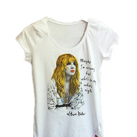 Stevie Nicks t-shirt Fleetwood Mac tshirt painting 3d shirt  retro gypsy  World Turning Quor Art