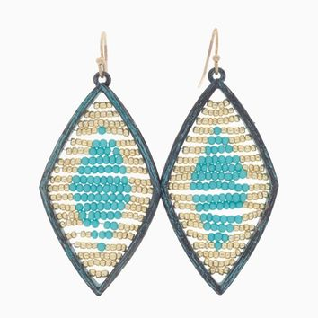 Aqua Gold Beaded Diamond Shaped Drop Earring
