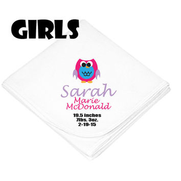 Personalized receiving blanket.  Owl design. For girls or boys. Personalized with baby's name, birthdate, weight, and length.