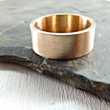 elegant bronze ring rustic wedding ring 8mm wide ring band mens ring modern ring matte finish