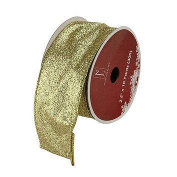 "Sparkling Solid Gold Wired Christmas Craft Ribbon 2.5"" x 10 Yards"