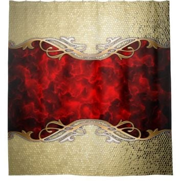 gold,red,metallic,modern,pattern,cool,elegant,chic shower curtain