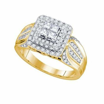 14kt Yellow Gold Women's Princess Diamond Cluster Bridal Wedding Engagement Ring 3-4 Cttw - FREE Shipping (US/CAN)