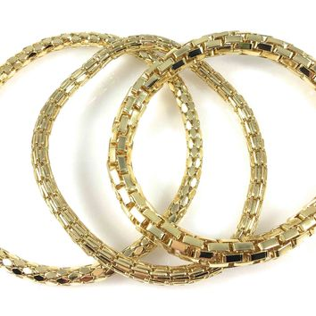 12K Gold Filled Mesh Chain Stretch Bracelet Bracelets Set of 3 (Two 4mm One 6mm)