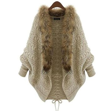 Misty Skies Faux Fur Batwing Sweater