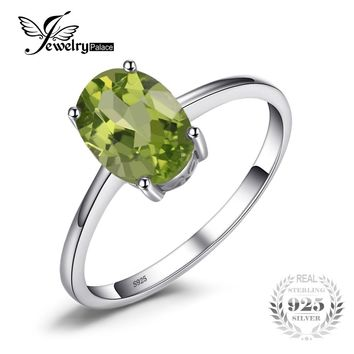 JewelryPalace Genuine 925 Sterling Silver 1.4ct Natural Peridot Solitaire Rings For Women Love Gift Classic Oval Fine Jewelry