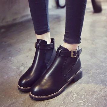 Hot Deal On Sale Winter Korean Round-toe With Heel Patchwork Dr. Martens Boots [11846985039]
