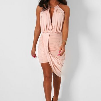Thesis Nude Gathered Drape Dress | Pink Boutique