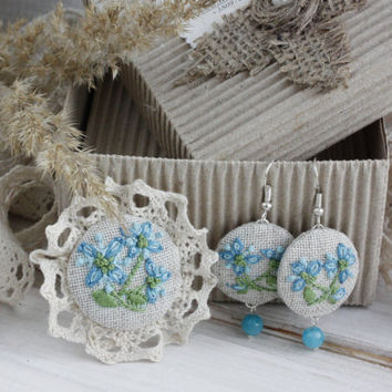 Boho Lace Brooch and earrings hand embroidered jewelry forget-me-not Blue Flowers Linen Cotton gemstone Ukrainian vyshyvanka bohemian floral