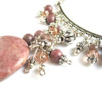 Pink Rhodonite Pendant Necklace Silver Crystal Dangles
