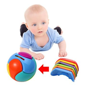 Toys Kids Plastic Bricks Piggy Bank Toys Colorful Assembled Puzzle Toy Gift Baby Hand Grasping Ball