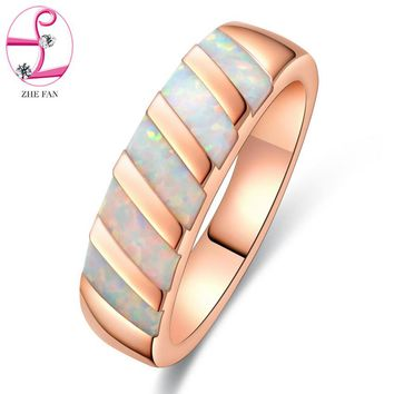 ZHE FAN Synthetic White Fire Opal Geometric Women Rings Rose Gold Color Plated Engagement Jewelry Size 5-10