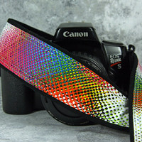 Psychedelic Camera Strap, Retro, dSLR, Mod, Good Vibrations, Pointillism, Rainbow, 163 cw