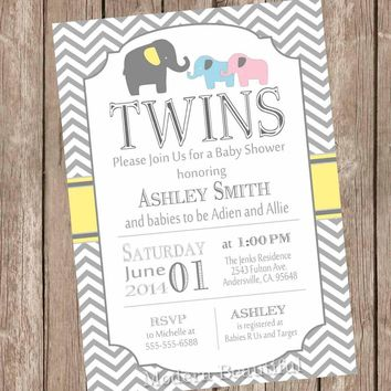 Elephant Twins Baby Shower Invitation, twin girl, twin boy, boy and girl twins, pink, blue, yellow, typography, printable invitation pbe1