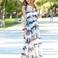 Bird Print Halter Backless Maxi Dress