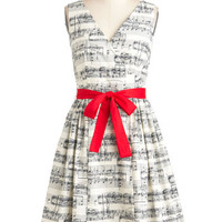 ModCloth Music Mid-length Sleeveless Fit & Flare In the Key of Chic Dress