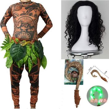 Adult Maui Cosplay Costumes Tattoo Printed Top Pant Belt Hairpiece Toy Hook 5Pcs Set Halloween Cos Set Anime Moana Cos