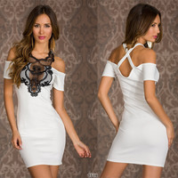 Strapless Lace Stitching Elastic Sexy Bodycon Dress