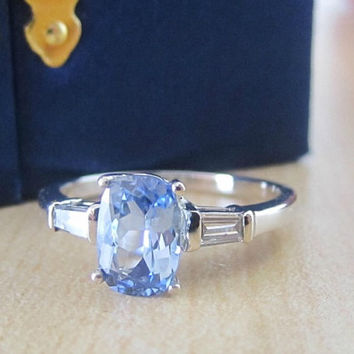 Gorgeous Natural 1.40 ctw Ceylon Blue Sapphire Diamond Engagement Wedding Promise Ring Alternative 14k White Gold Precision Cut Untreated