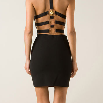 ANTHONY VACCARELLO X VERSUS VERSACE CAGED-BACK BODY-CON LION PLEXI RING DRESS
