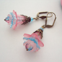 Baby Pink and Blue Vintage Earrings Frosted Lucite by earringsAND