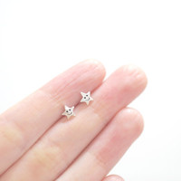 Smiley Star Studs, Star Earrings, Star Stud Earrings, Silver Star Studs, Silver Star Earrings, Dainty Earrings, Fun Earrings, Star Studs