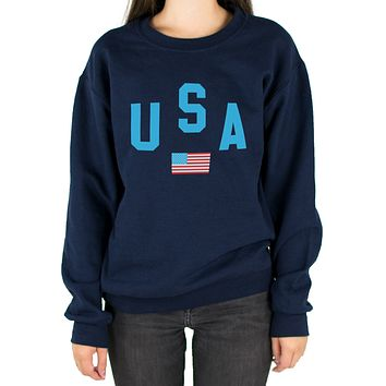 USA Flag Shirt Crewneck Sweatshirt