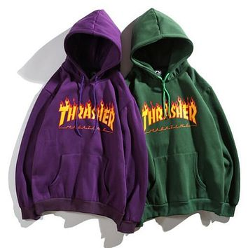 Thrasher Fashionable Women Men Print Long Sleeve Hoodie Sweater Pullover Top Sweatshirt