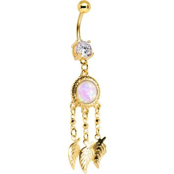 Pink Synthetic Opal Gold Anodized Dreamcatcher Dangle Belly Ring
