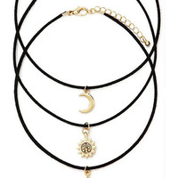 3 pcs Gothic Star-Moon-Sun Leather Chockers Necklaces