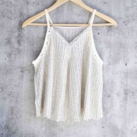 free people - ana crochet-inset lace tank - cream