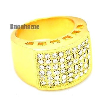 MENS HIP HOP RAPPER CHUNKY ICED OUT RICK 14K GOLD PLATED RING SIZE 7 - 12 N009G