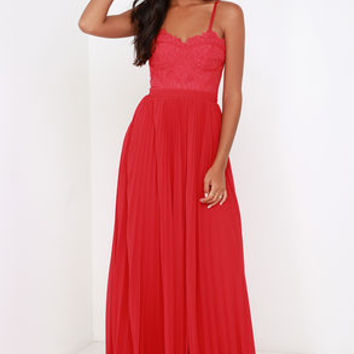 Bariano Come Quick Cupid Red Strapless Lace Maxi Dress