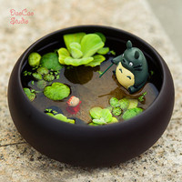 Totoro Fishing on Bamboo raft , Ponyo Fish Baby Glibli Studio Mini Fairy Garden Supplies Succulent Terraium DIY Accessories