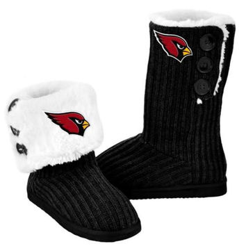 Official NFL Ladies Knit High End Button Boot Slippers - Choose Your Team