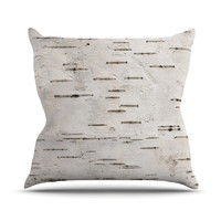"Susan Sanders ""Painted Tree"" White Rustic Throw Pillow"