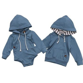 Baby Clothes Autumn Baby Boys Brother Hoodie Sweatshirt Hooded Tops Romper Jumpsuit Clothes Family Matching Outfits