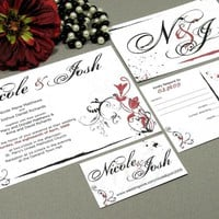 Flower Paint | Modern Wedding Invitation Suite by RunkPock Designs | Formal Punk Rock Style Distressed Floral Swirl Calligraphy Invitation Design | shown in Dark Red, Black and White